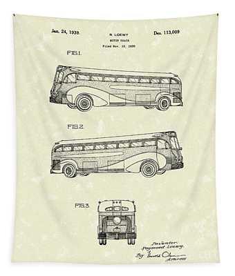 Motor Coach 1939 Patent Art Tapestry