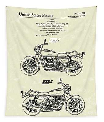 Motorcycle 1976 Patent Art Tapestry