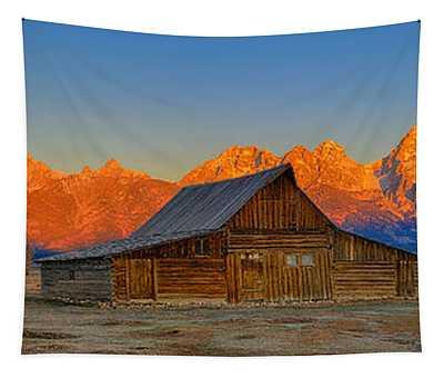 Moulton Barn Alpenglow Panorama Tapestry
