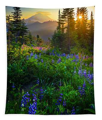 Mount Rainier Sunburst Tapestry