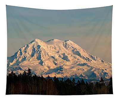 Mt Rainier Winter Panorama Tapestry