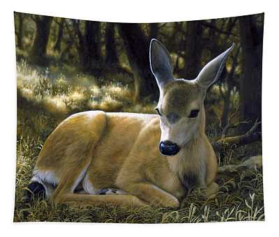 Mule Deer Fawn - A Quiet Place Tapestry