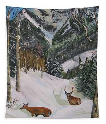 Mule Deer In Winter Tapestry