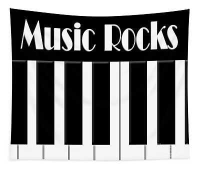 Music Rocks Bw Tapestry