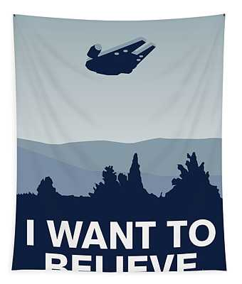 My I Want To Believe Minimal Poster-millennium Falcon Tapestry