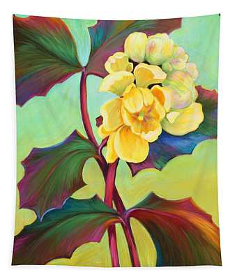 Tapestry featuring the painting My Oregon Grape by Sandi Whetzel