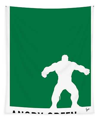 My Superhero 01 Angry Green Minimal Poster Tapestry