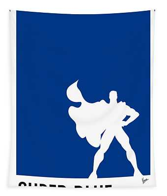 My Superhero 03 Super Blue Minimal Poster Tapestry