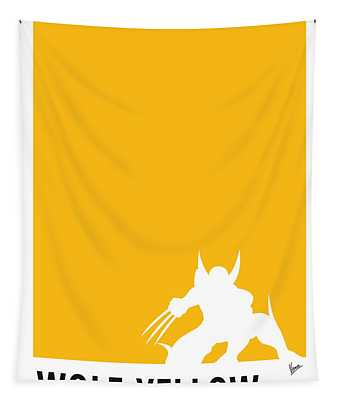 My Superhero 05 Wolf Yellow Minimal Poster Tapestry