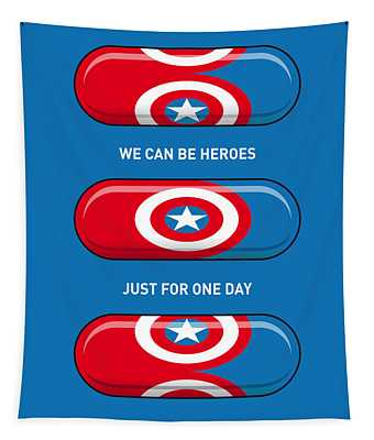 My Superhero Pills - Captain America Tapestry