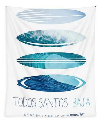 My Surfspots Poster-6-todos-santos-baja Tapestry