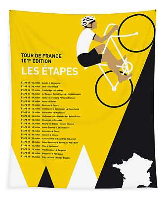 My Tour De France Minimal Poster 2014-etapes Tapestry