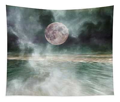 Mystical Beach Moon Tapestry