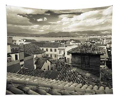 Nafplio Rooftops Sepia Tapestry