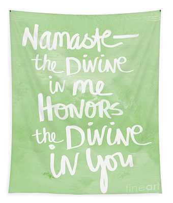 Namaste Green And White Tapestry