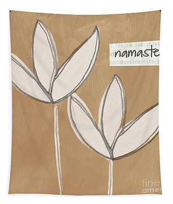 Namaste White Flowers Tapestry