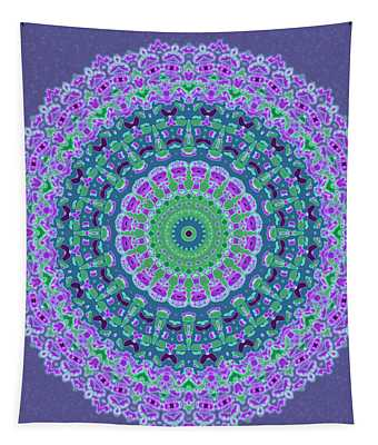Tapestry featuring the digital art Nantucket Cottage Mandala by Joy McKenzie