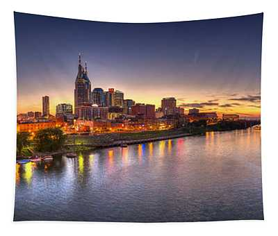 Nashville Skyline Panorama Tapestry