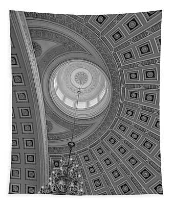 Tapestry featuring the photograph National Statuary Rotunda Bw by Susan Candelario