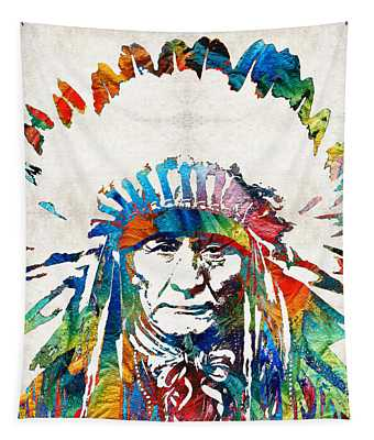 Native American Art - Chief - By Sharon Cummings Tapestry