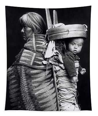 Navaho Woman Carrying A Papoose On Her Back Tapestry