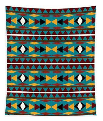 Navajo Teal Pattern Tapestry