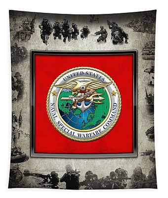 Naval Special Warfare Command - N S W C - Emblem  Over Navy Seals Collage Tapestry