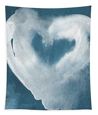 Navy Blue And White Love Tapestry