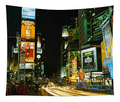 Neon Boards In A City Lit Up At Night Tapestry