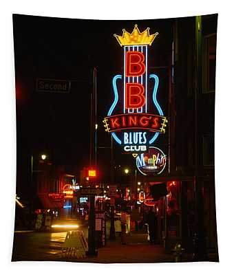 Neon Sign Lit Up At Night, B. B. Kings Tapestry