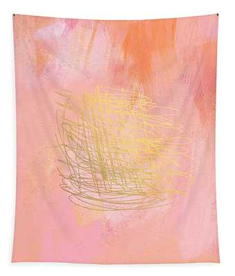 Nest- Pink And Gold Abstract Art Tapestry