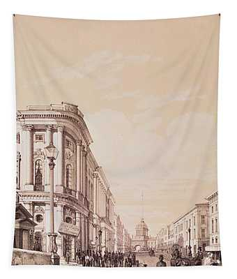 Nevsky Prospekt, St. Petersburg, Illustration From Voyage Pittoresque En Russie, 1843 Engraving Tapestry