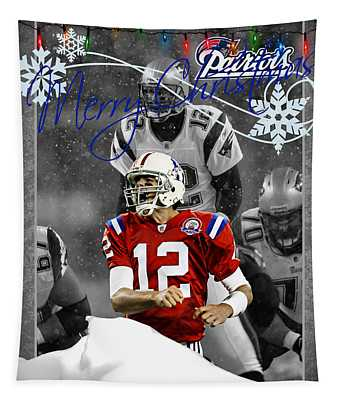New England Patriots Christmas Card Tapestry