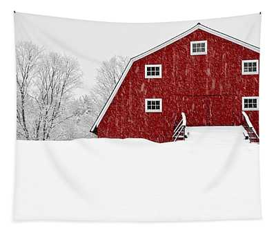 New England Red Barn In Winter Snow Storm Tapestry