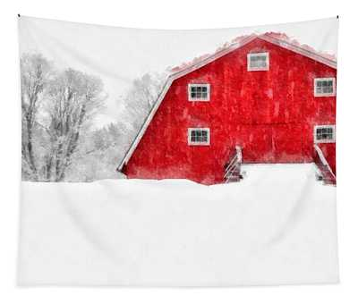 New England Red Barn In Winter Snow Storm Watercolor Tapestry