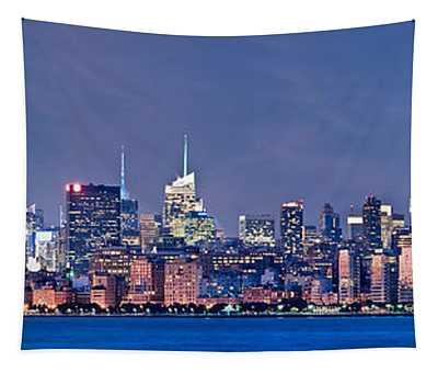 New York Blue Hour Panorama Tapestry