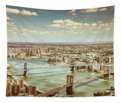 New York City - Brooklyn Bridge And Manhattan Bridge From Above Tapestry