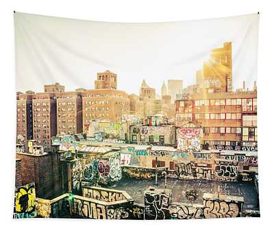 New York City - Graffiti Rooftops Of Chinatown At Sunset Tapestry
