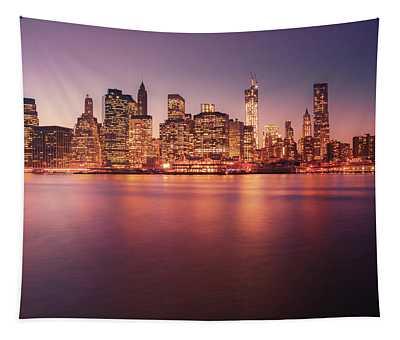 New York City Skyline - Night Lights Tapestry