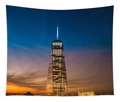 New York City - Sunset And One World Trade Center Tapestry