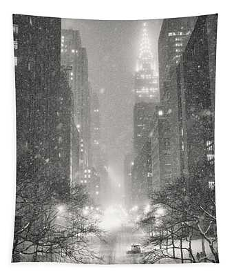 New York City - Winter Night Overlooking The Chrysler Building Tapestry