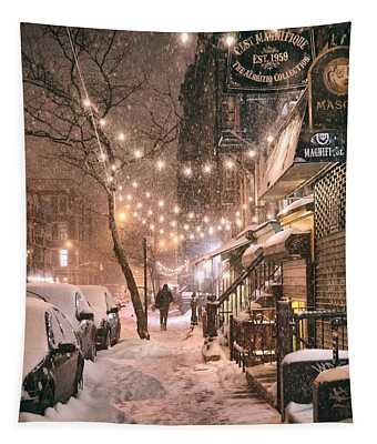 New York City - Winter Snow Scene - East Village Tapestry
