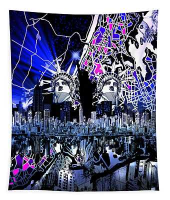 New York Map Abstract 4 Tapestry