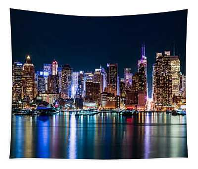 New York Panorama By Night Tapestry