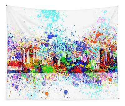 New York Skyline Splats Tapestry