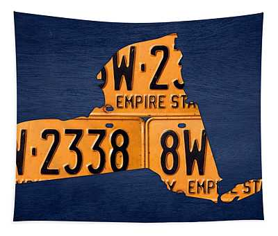 New York State License Plate Map Tapestry