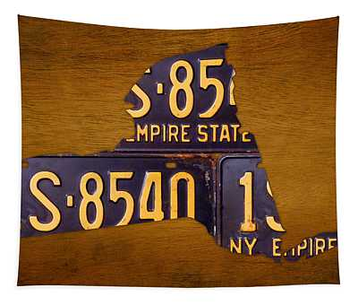New York State License Plate Map - Empire State Orange Edition Tapestry