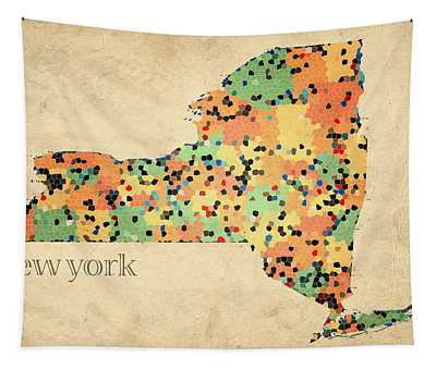 New York State Map Crystalized Counties On Worn Canvas By Design Turnpike Tapestry