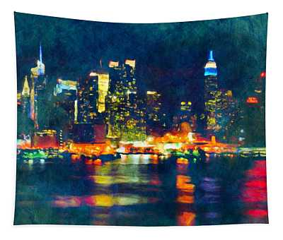 New York State Of Mind Abstract Realism Tapestry