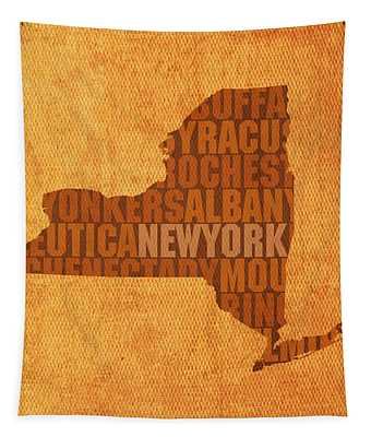 New York Word Art State Map On Canvas Tapestry